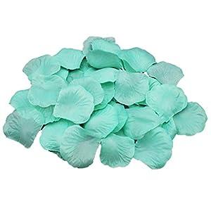 ALLHEARTDESIRES Mint Green Silk Rose Flower Petals Wedding Confetti Table Scatters Aisle Runner Decor Flower Girl Basket Filler (1,000) 99