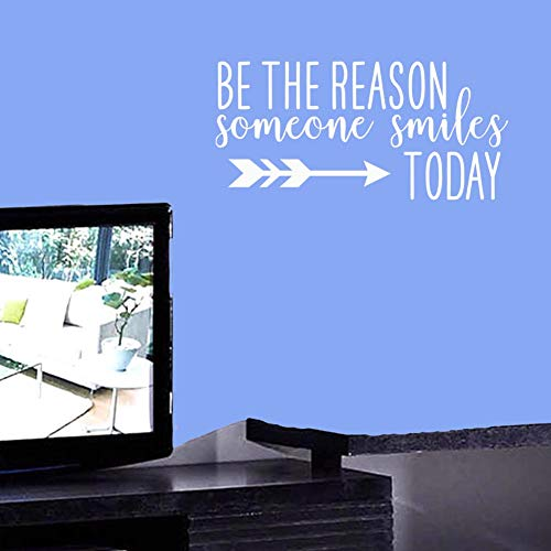 BIBITIME Be The Reason Someone Smiles Today Wall Decal Inspirational Quotes Vinyl Sticker for Office Living Room Baby Toddlers Nursery Bedroom Children Kids Room Decor (White, DIY 10.6