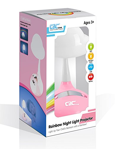 Rainbow Projector & Night Light - Multifunction Tabletop Multicolor LED Lamp for Kids Bedroom - Pink - By GicZone