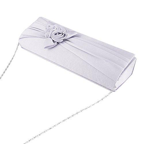 Prom Wallet Bridal Womens U Story Satin Floral Bag Clutch Wedding Purse Handbag Evening Silver gpxfqvnx