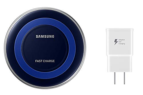 (Samsung Qi Certified Fast Charge Wireless Charger Pad - Universally Compatible with Qi Smartphones (Includes a Wall Charger) - US Version - Black/Blue)