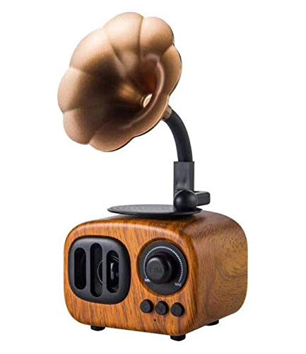 WALTSOM Retro Wooden Wireless Speaker, Portable Stereo Speaker with HD Audio and Enhanced Bass, Built-in Rechargeable Battery, BT4.0, Handsfree Calling, TF Card Slot for Home Office