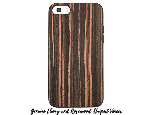 Wood Ash Stripe (Make it Colourful Faux-Leather and Wood Cases for iPhones 6-6s-7-8 (Genuine Ebony and Rosewood Striped Veneer))