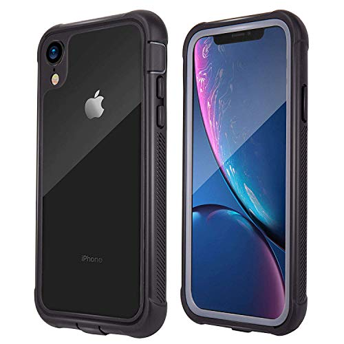 iPhone XR Case, Aroamas Full-Body Rugged Clear Bumper Case with Built-in Screen Protector for iPhone XR 6.1 Inch (2018 Release)