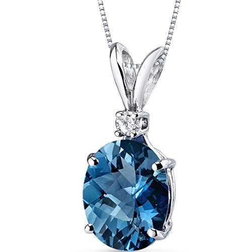 14 Karat White Gold Oval Shape 3.00 Carats London Blue Topaz Diamond Pendant by Peora
