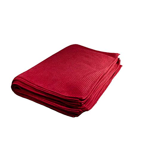 Towels by Doctor Joe – Ultra-32 Red Waffle Weave 16″ x 24″ Microfiber Towel – 12 Pack