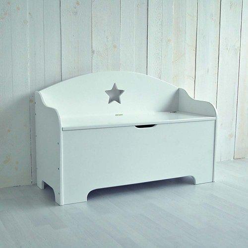 lounge-zone Große Kinderbank Truhenbank STAR weiß mit Ablagefach 100cm 11417