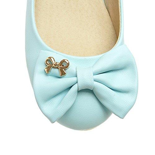 AllhqFashion Womens Solid PU Low-Heels Pull-On Round-Toe Pumps-Shoes Blue gYIJK