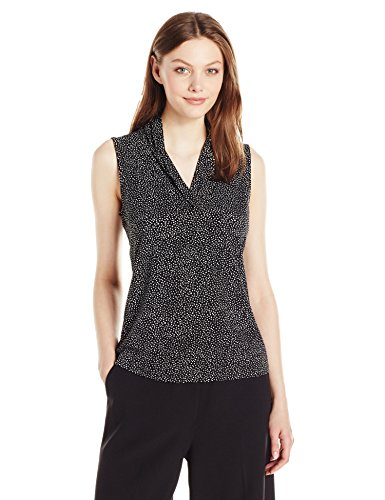 - Anne Klein Women's Print Triple Pleat Top, Black/Optic White, S