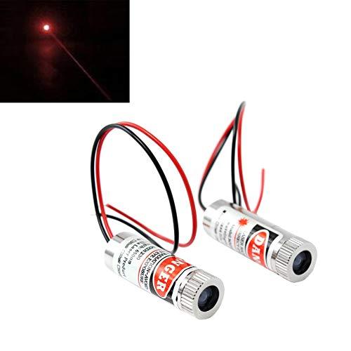 WayinTop 2pcs 650nm Focusable Focus Adjustable Lens Laser Red Dot Diode Module 3-5V with Driver Plastic Lens (Dot Laser)