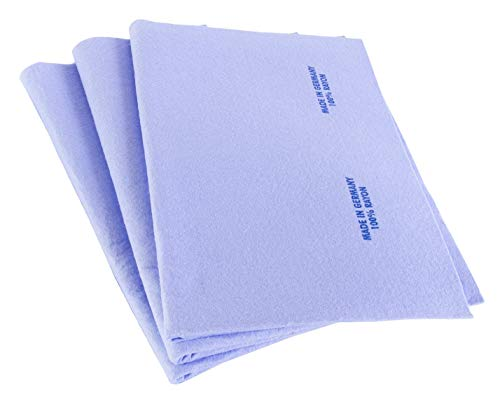 3pk Original German Shammy Towels Super Absorbent Chamois Cloths Large Size 20x27 Inch For Home Kitchen Bathroom Car Pet Stains (Blue)