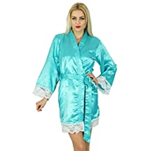 Bimba Women Kimono Sleeve Satin Short Robe Getting Bride Bridesmaid Lace Robe