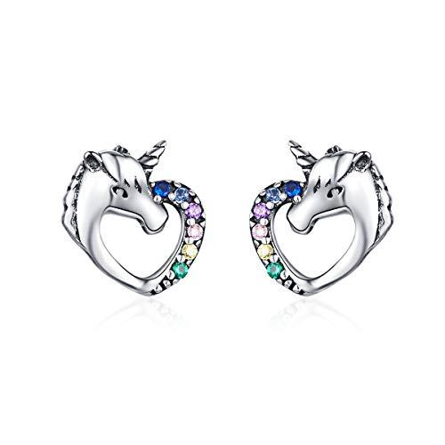 Cute Unicorn Crystal Stud Earrings for Girls Women Sterling Silver Colorful CZ Animal Ear Piercing Studs Post