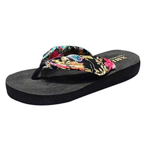 Boho Noir YOUJIA Or Filles Sandales Plateforme Femme Chaussures amp; Tongs de Fleurs Plage été IIaBHwq