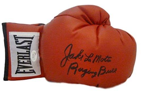 Jake LaMotta Autographed red 12oz Everlast Glove w/Raging Bull