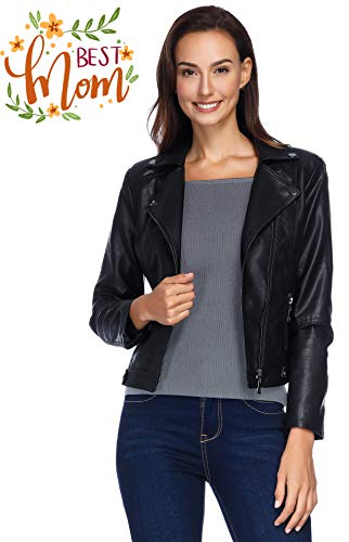 (Black Leather Jacket for Women, Faux Leather Motorcycle Zip Up Short Jacket for Petite Black)