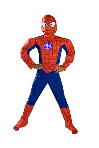 Spiderman Costume Boys kids light up Spider Size T S M FREE MASK 4 5 6 7 8 9 T (2-3)
