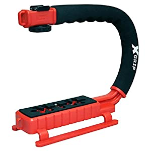 Opteka X-GRIP Professional Camera / Camcorder Action Stabilizing Handle with Accessory Shoe for Flash, Mic, or Video Light (Red)