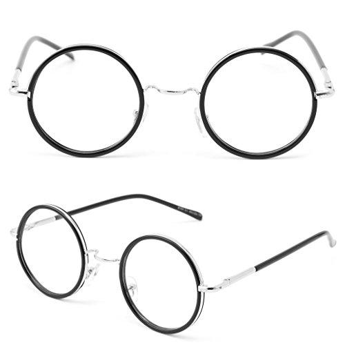 Itemap Men Women Retro Round Frame Vintage Eyeglasses Full Rim Glasses Spectacles 2017 - Round Blue C1