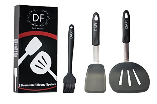 Dafi Kitchen 2 Premium Silicone Spatula Set   Silicone Cooking Utensils   Flexible Silicone Turner   Stainless Steel   Heat-Resistant 600F   Cooking Set