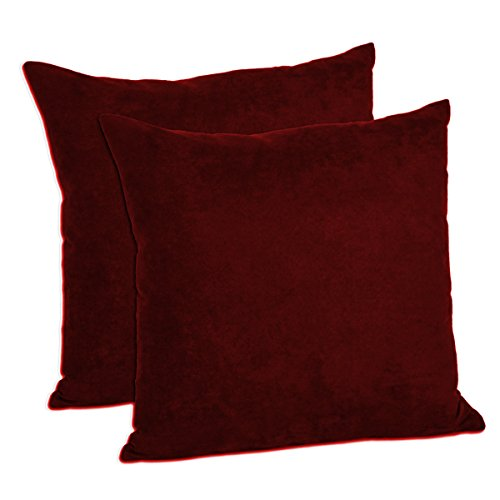 MoonRest Pack of 2- Suede Square Decorative Throw Pillow Covers Sofa sham Solid Colors Cushion Pillowcases (16 x 16 Burgundy)