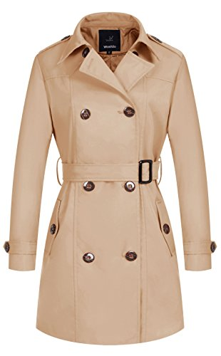 Wantdo Women's Double-Breasted Long Trench Coat with Belt(Khaki,X-Large) (Women Korean Coats)