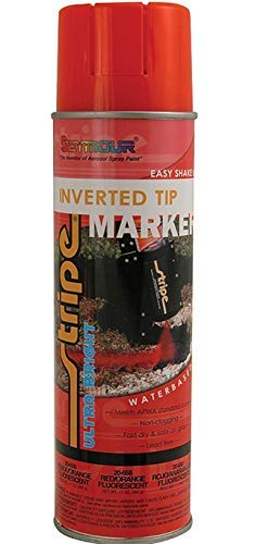 Seymour Stripe Ultra Bright Inverted Tip Red/Orange Fluorescent 20-658 17 oz Spray Paint (12 Pack)