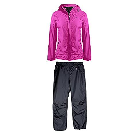 Cheetah Ladies Ripstop Jacket and Pant Rain Suit Set with Adjustable Hood Berry Size M