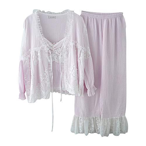 Pijamas Cuatro Femeninos De Lino Otoño A Y Algodón Mmllse Servicio Purple Piezas Princesa Dulce Domicilio Encaje qFpUC5w