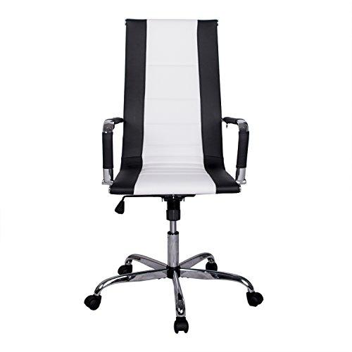 Walcut High Back Modern Upholstered 360° Swivel Tilt Height Adjust Ergonomic Ribbed High Back Executive Office PU Leather Computer Desk Chair (Black And White)