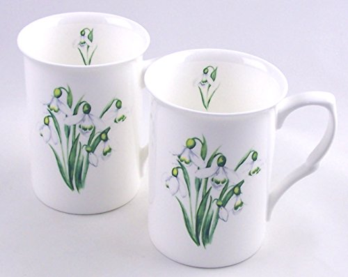 Set of Two Fine English Bone China Mugs - Snowdrop Chintz - England