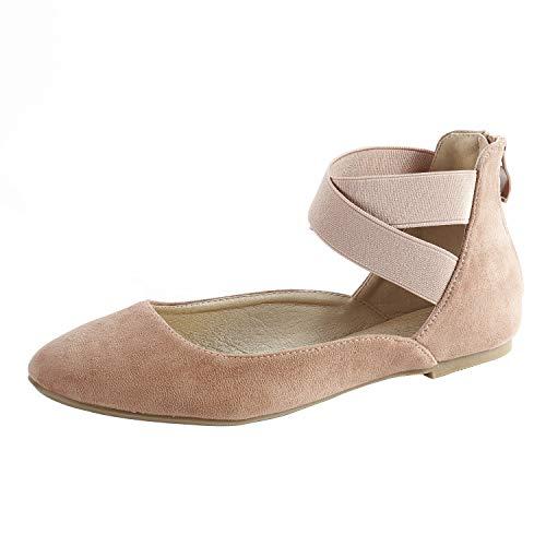 Women Flat Shoes Elastic Classic Ballerina Flats Pink 08