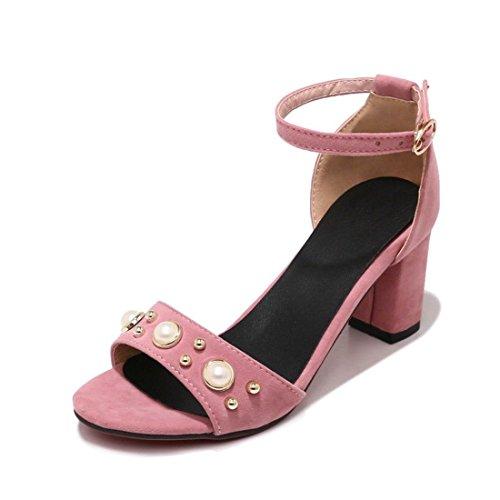 Primavera Donna Alto sandali AIKAKA Estate Pink Scamosciata in Fibbia Pelle Tacco con Bqwwpxz