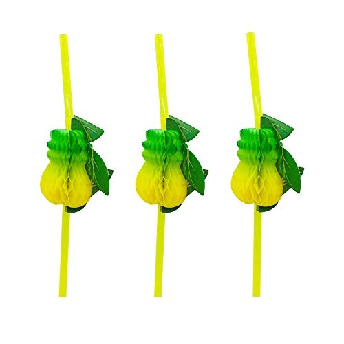 Disposable Bendy Flexible Drinking Straws Pick for Table Décor Tropical Drink Cocktail Soft Drinks Luau Hawaii Beach Party Supplies (Yellow, Pineapple)