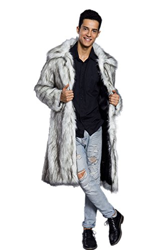 Amore Bridal Mens Faux Fur Coat Long Black Jacket Warm Furry Overcoat Outwear Light Grey -