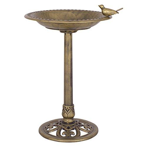 Giantex Antique Gold Freestanding Pedestal Bird Bath Feeder Outdoor Garden Yard Decor(Gold) Bronze Garden Fountain