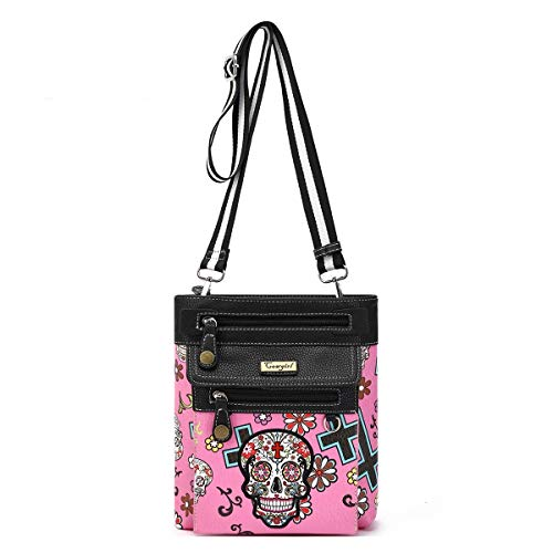Day of The Dead Sugar Skull Print Crossbody Bag with Front Detachable Zipped Pouch ()
