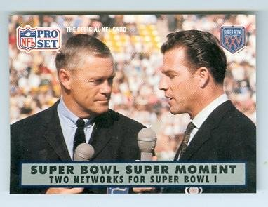 Frank Gifford and Pat Summerall football card (New York Giants) 1990 Pro Set #136 Super Bowl Moments