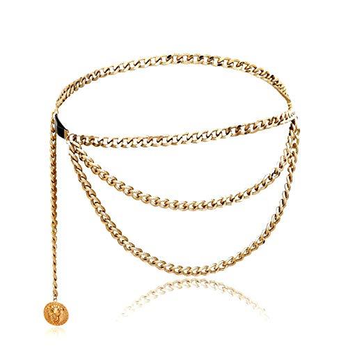 Women Trendy Multilayer Metal Link Waist Chain Waist Belt Long Tassel Sun Charm Belly Chains Waistbands Body Jewelry ()