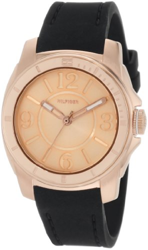 (Tommy Hilfiger  Women's 1781149 Sport Rose Gold and Black Silicon  Watch)