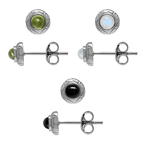 Petite 3-Pair Set Cabochon Peridot, Moonstone & Created Black Onyx 925 Sterling Silver Stud Earrings ()