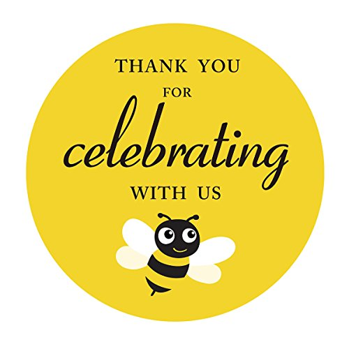 MAGJUCHE Bumnle Bee Thank You Baby Shower or Birthday Party Stickers, Yellow Sticker Labels, 2 Inch Round, 40-Pack