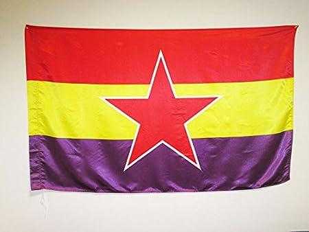 AZ FLAG Bandera ESPAÑA Republicana Estrella del EJÉRCITO Popular 150x90cm en Raso para Palo - Bandera DE LA Republica ESPAÑOLA 90 x 150 cm: Amazon.es: Jardín