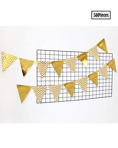 Set Tassel Fabric (Amersumer 60 PCS Triangle Flag Tassel Garland Banner Set Sparkly Paper Pennant Banner Triangle Flags Bunting Set Birthday Party Wall Decorations Vintage Double Sided Glitter Gold Triangle Flag Bunting)
