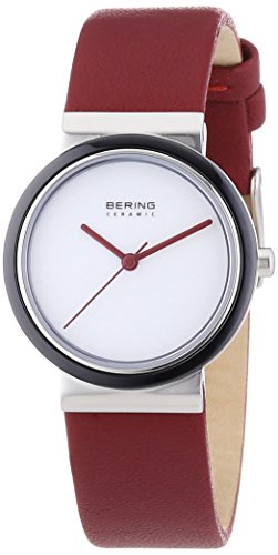 Bering Time Damen-Armbanduhr XS Part Ceramic Analog Quarz Leder 10729-AZ1