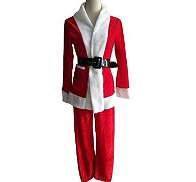 Leoy88 Christmas Cute Women Suit Belt Hat Christmas Clothes Pants Santa Claus Set