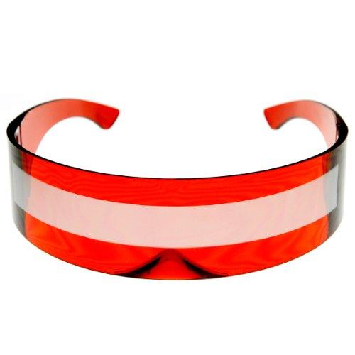 zeroUV - 80s Futuristic Cyclops Cyberpunk Visor Sunglasses with Semi Translucent Mirrored Lens (Clear - Glasses Visor Sun