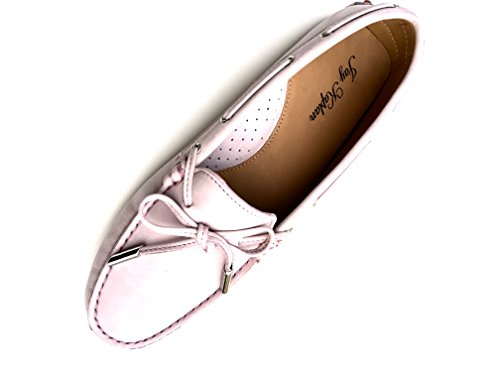 JAY KAPLAN 400 Dollar All Leather Nubuk, Made in Italy Shoes, Womens Driving Loafer Mocasin with Lace, Leslie Rose Pale Pink