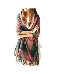 Women's Long Shawl Grid Winter Warm Lattice Large Scarf Pashmina Tartan Wrap (5)