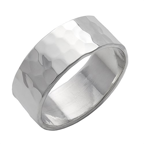 Silverly Men's Women's .925 Sterling Silver Hammered Finish Polished Flat Top Band 8mm Ring (Hammered Finish Band Silver)
